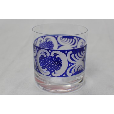 Whiskey Glass with Cobalt Carve Design (Pair)
