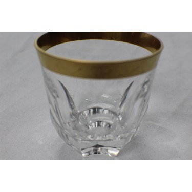 Whiskey Glass faceted with 22kt Gold Band (Pair)