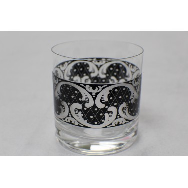 Whiskey Glass with Black Carve Design (Pair)